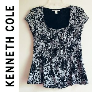 Kenneth Cole Black and White Short Sleeve Blouse